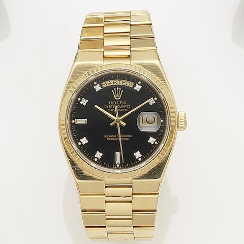 Rolex. An 18K gold quartz calendar bracelet watch Oysterquartz Day-Date, Ref:19018, Serial No.743****, Circa 1982