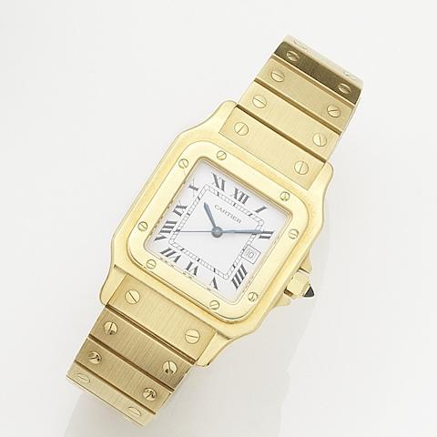 Cartier. An 18K gold automatic calendar bracelet watch together with associated cuff links Santos, Circa 1990