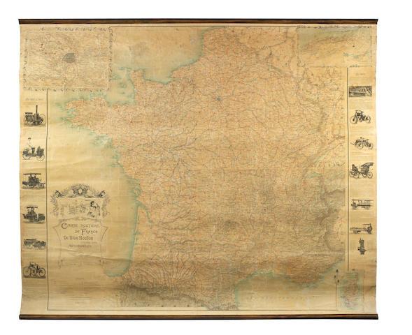A large De Dion Bouton map of France, circa 1900,