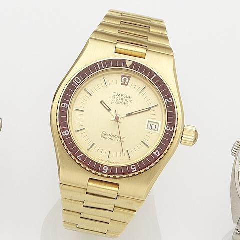 Omega. An 18K gold quartz electronic calendar bracelet watch Seamaster Electronic f400Hz, Ref:198.0005, Movement No.341*****, Circa 1975