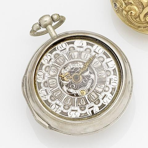 Swetman London. A silver key wind calendar pair case pocket watch Circa 1750