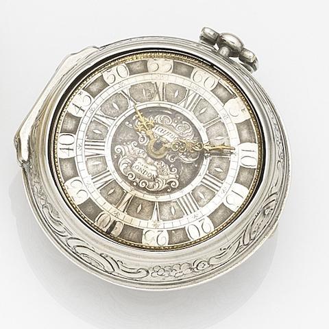 W. Hayward, London. A silver key wind repoussé pair case pocket watch Circa 1720