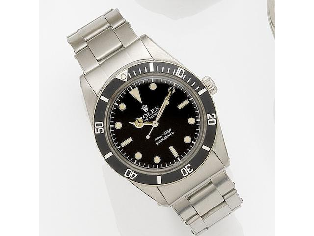 Rolex. A stainless steel automatic bracelet watch Submariner, Ref:6536, Serial No.155***, Movement No.N69****, Circa 1956