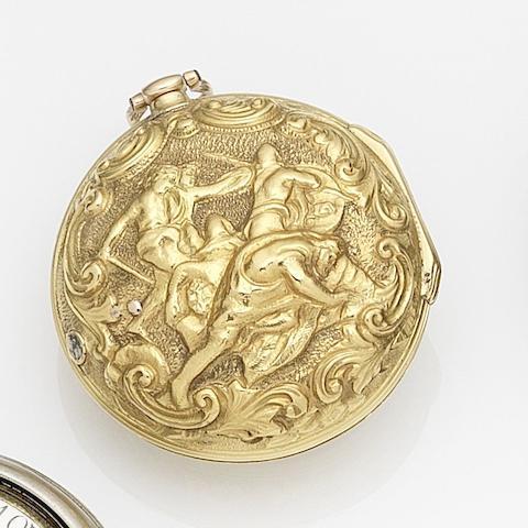Thomas W. Lutwyche, Worcester. A gold key wind repoussé triple case pocket watch Movement No.53, Circa 1780