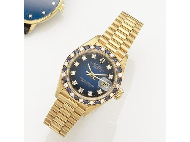 Rolex. A lady's 18k gold, diamond and sapphire set automatic calendar bracelet watch Datejust, Ref:69198, Serial No.L53****, Movement No.291****, Circa 1988