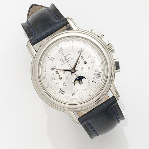 Zenith. A stainless steel automatic triple calendar chronograph wristwatch with moon phase El Primero Chronomaster, Ref:14/01.0240.410, Movement No.94318, Circa 2000