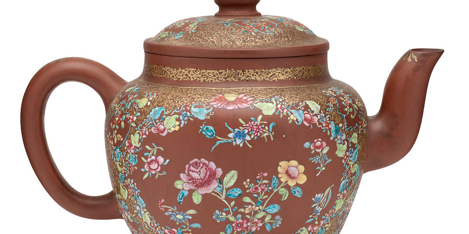 An unusual large enamelled yixing teapot and cover Circa 1820, signed Shao Yuanhua