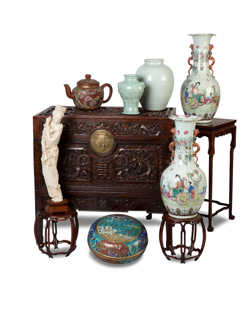 A huanghuali side cabinet on stand 19th century