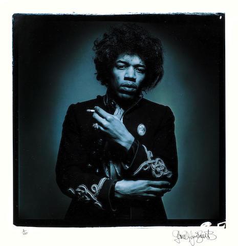 Jimi Hendrix: Gered Mankowitz (British B. 1946), 'Jimi Blue Smoke', gelatin silver print, 1967,
