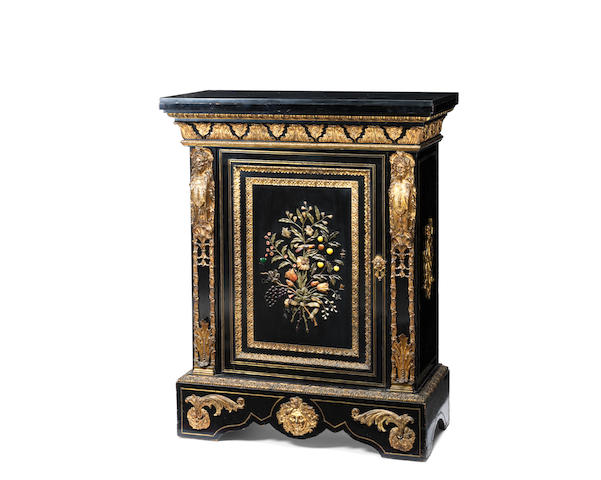 A French mid-19th century Louis XIV style gilt-bronze and pietre-dure mounted ebonised 'Boulle'-type meuble-d'appui