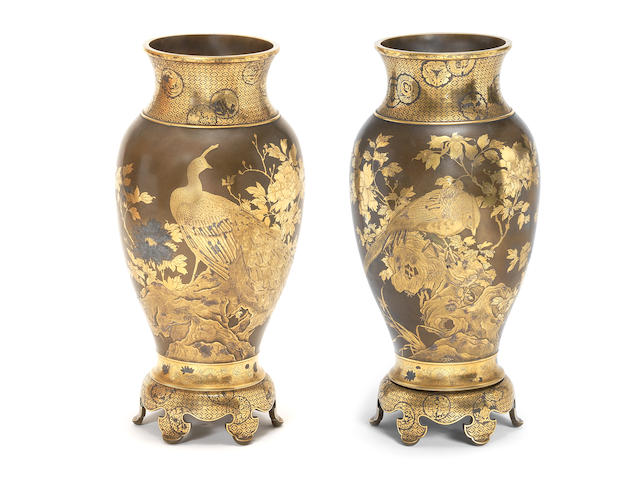 A fine pair of inlaid bronze vases By Kajima Ikkoku II (1846–1925), Meiji era (1868-1912), circa 1890-1900 (4)
