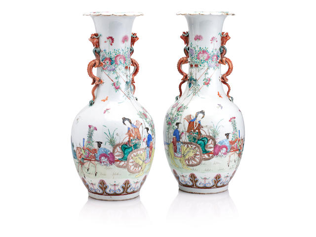 A pair of large mirrored famille rose vases 19th century
