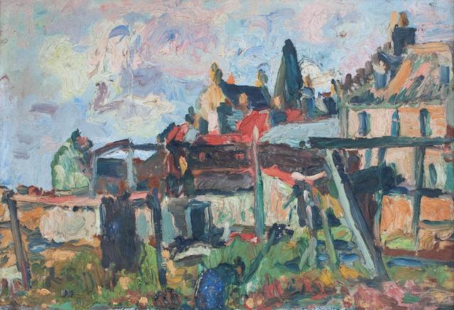 George Leslie Hunter (British, 1877-1931) In the Garden, St Monan's 25 x 35.5 cm. (9 13/16 x 14 in.)