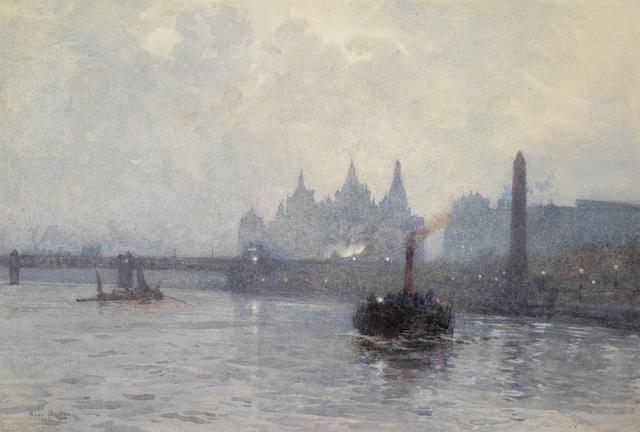 Rose Maynard Barton, R.W.S. (Irish, 1865-1929) A view of Charing Cross Bridge from the Thames