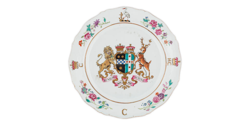 A famille rose dish bearing the arms of William Pitt the Elder Circa 1772