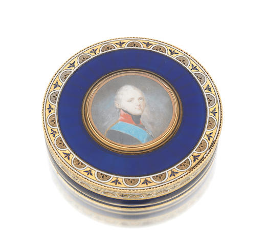 A late 18th century Russian gold and enamelled Imperial presentation portrait box by Pierre Theremin, St Petersburg 1799, the miniature by Franz Gerhard von Kuegelgen (1772-1820)