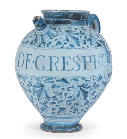 An Italian maiolica berretino-ground wet drug jar, perhaps Rome, late 16th century