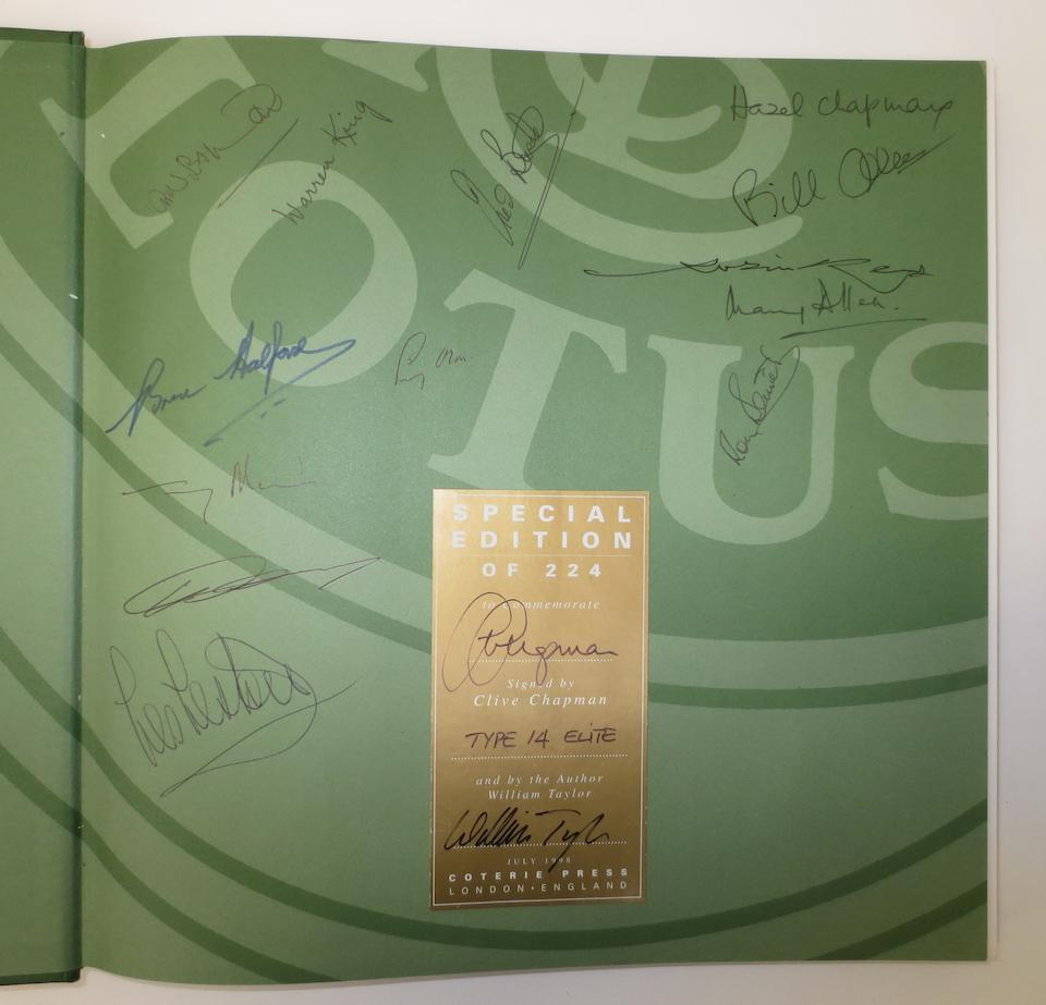William Taylor: The Lotus Book - The Complete History of Lotus Cars; a special edition signed by Lotus drivers and staff,  ((2))
