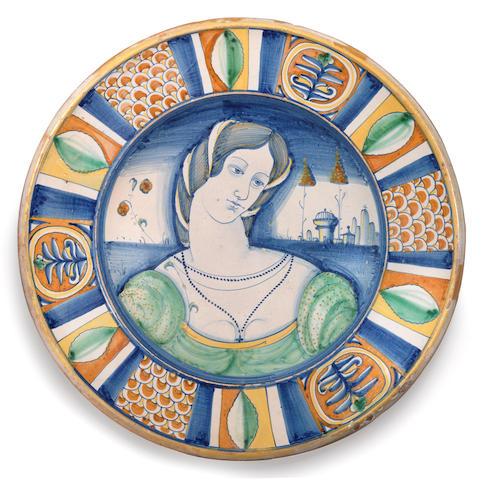 A Deruta maiolica dish, circa 1530