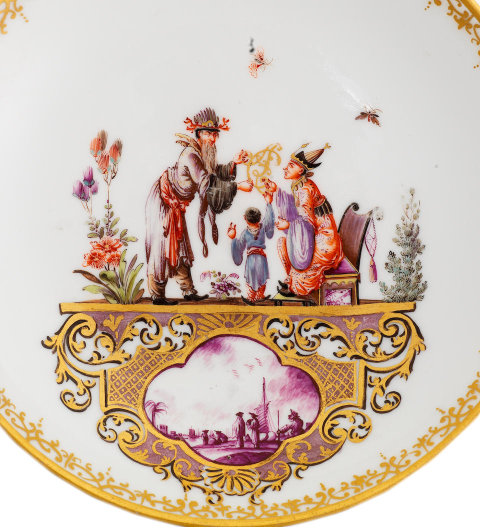 A very rare Meissen armorial two-handled beaker and saucer from the service for the Elector Clemens August of Cologne, dated 1735