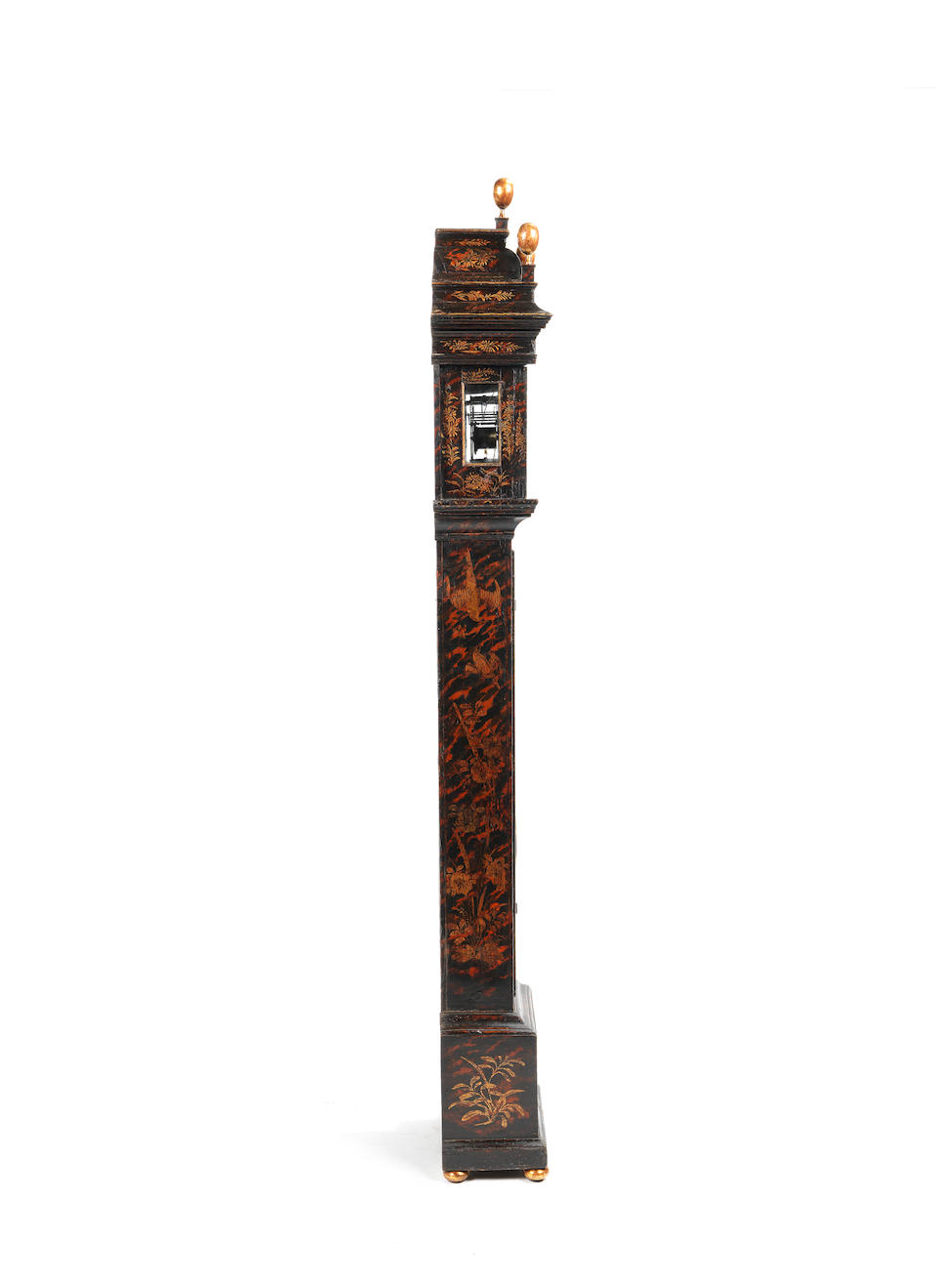 An exceptionally fine and rare early 18th century faux-tortoiseshell and Chinoiserie decorated miniature longcase clock Manley, Norwich