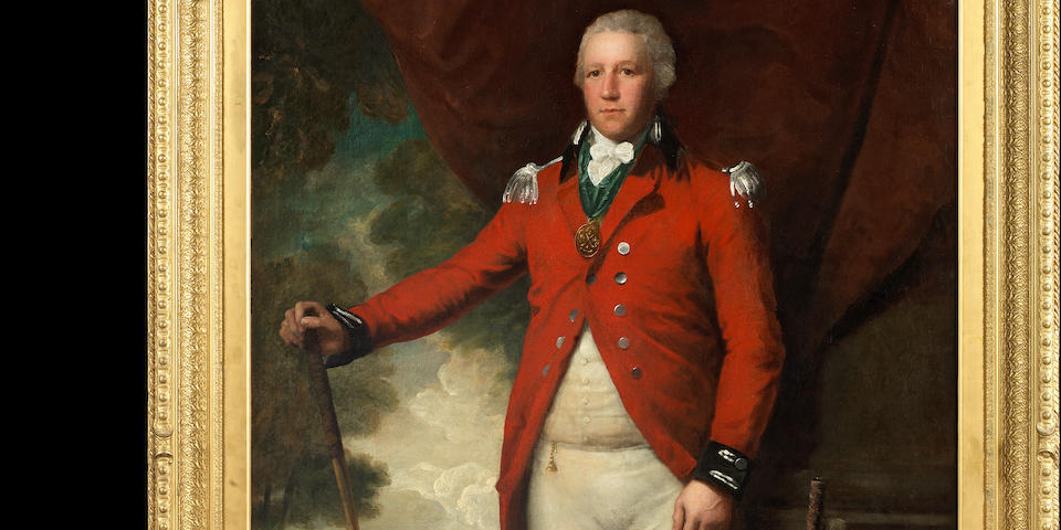 Lemuel Francis Abbott (Leicestershire circa 1760-1803 London) Portrait of Henry Callender standing full-length in a landscape in the attire of Captain General of the Blackheath Golf Club, holding a wooden headed spoon with a metal headed blade putter by his side
