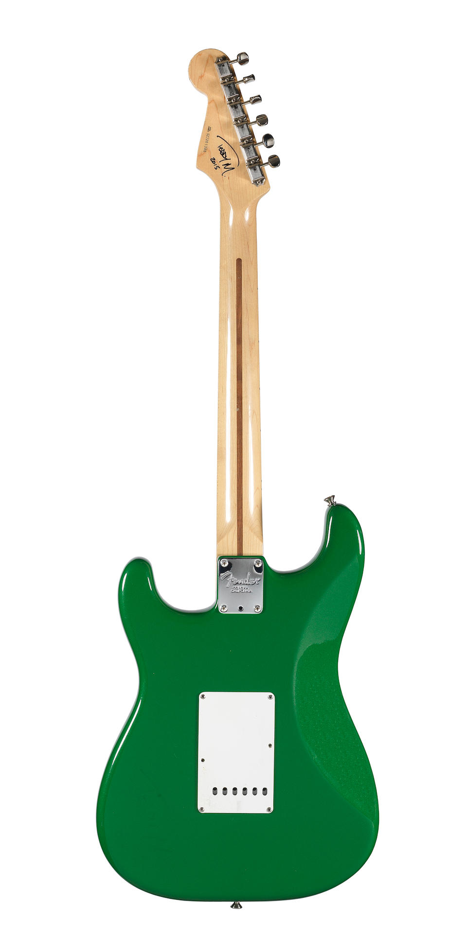 Ed Sheeran:  'Green T' Fender Stratocaster Eric Clapton Signature Model guitar used by Ed Sheeran on his X world tour 2015, Serial No. SZ2201386,
