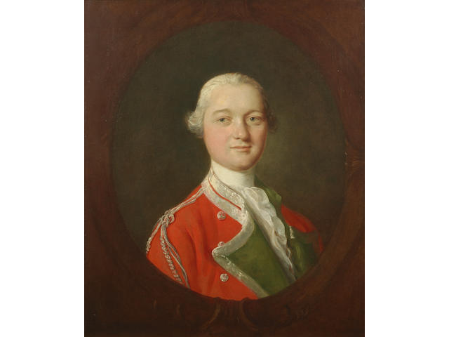 Thomas Gainsborough, R.A. (Sudbury 1727-1788 London) Portrait of a gentleman, bust-length, in officer's uniform, within a painted cartouche
