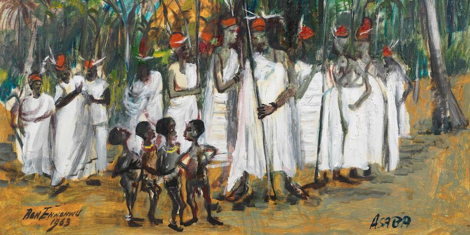 Benedict Chukwukadibia Enwonwu M.B.E (Nigerian, 1917-1994) The gathering of the chiefs, Asaba