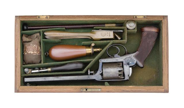 A Fine Cased 38-Bore Adams Patent 1851 Model 'Dragoon' Five-Shot Self-Cocking Percussion Revolver