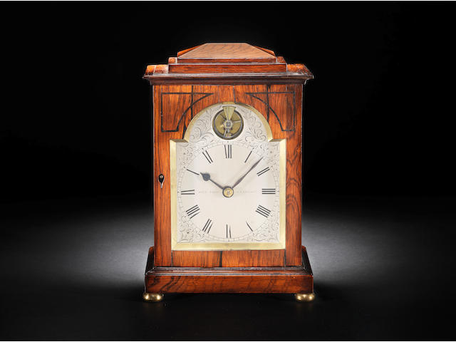An interesting early 19th century rosewood travelling timepiece with visible balance escapement John Todd, Glasgow