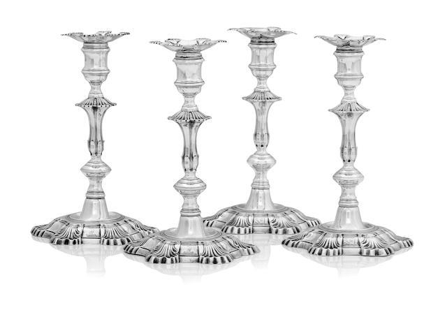 A good set of four George II silver candlesticks by William Gould, London 1749
