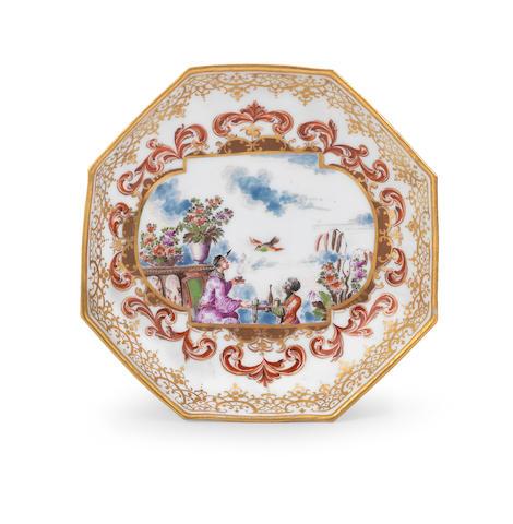 A very rare Meissen octagonal saucer, circa 1722-23