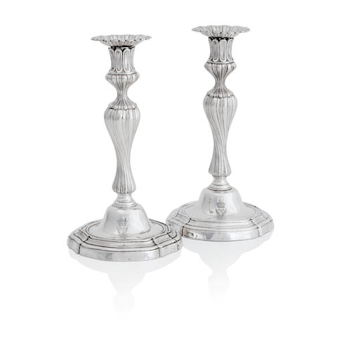 A pair of Victorian silver candlesticks by John Samuel Hunt, London 1850, stamped to the base Hunt & Roskell Late Storr Mortimer & Hunt, 5047