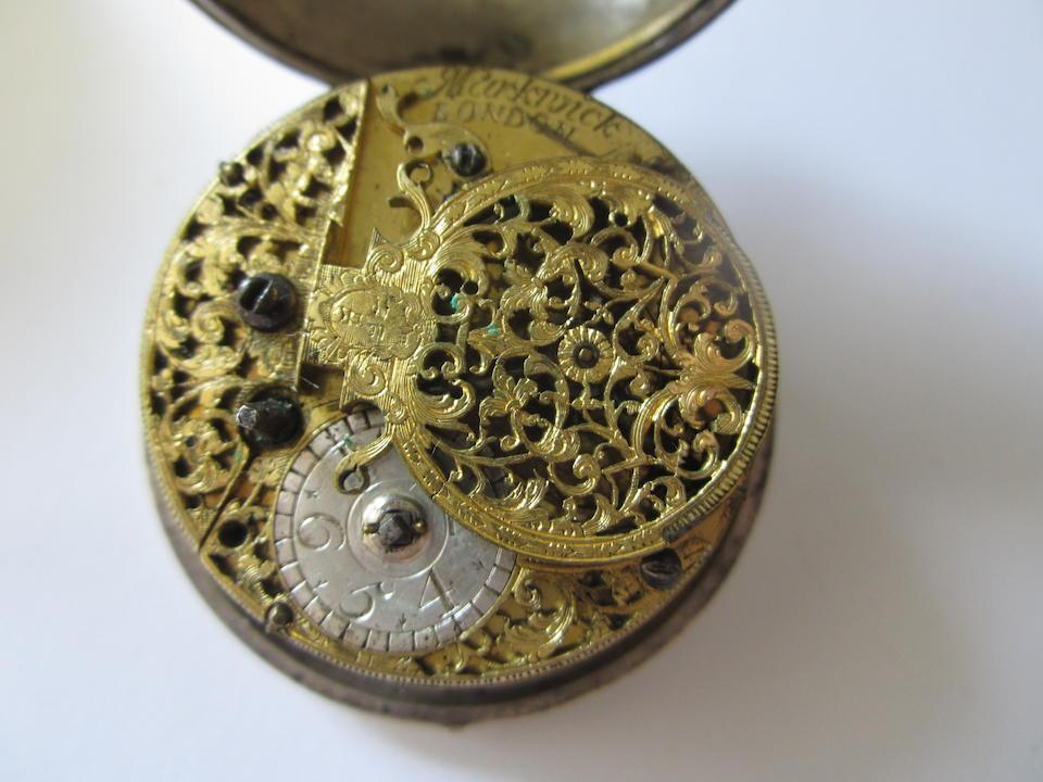 Markwick, London. A silver key wind pair case pocket watch Circa 1710