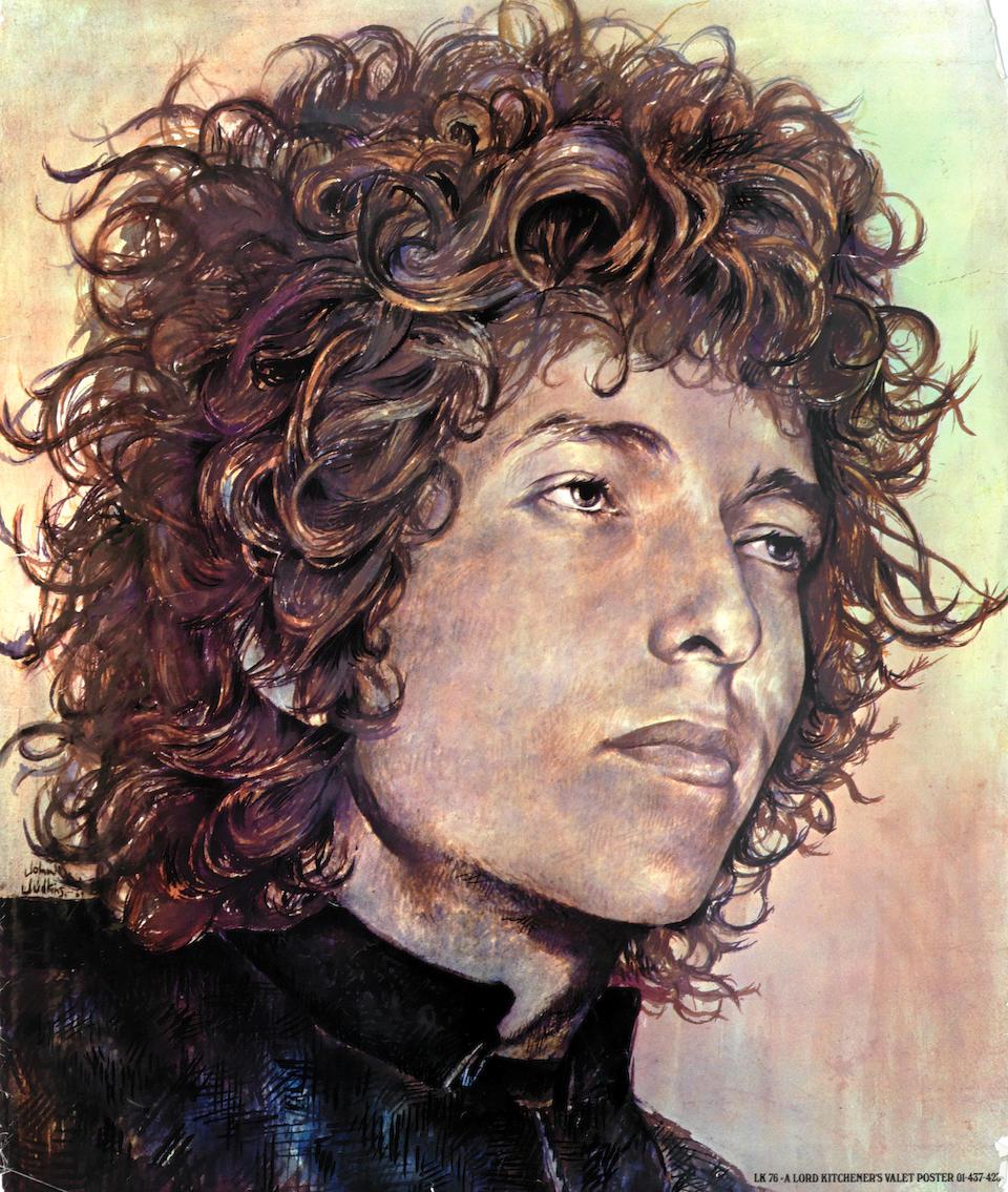 Bob Dylan: John Judkins preparatory poster artwork for 'I Was Lord Kitchener's Valet', 1969,