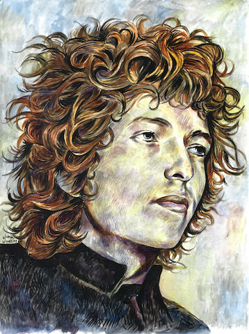 Bob Dylan: John Judkins preparatory poster artwork for 'I Was Lord Kitchener's Valet', 1969,