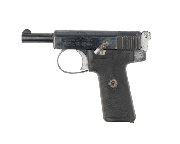 A 7.65mm (.32ACP) 'Model 1913' Self-Loading Pistol by Webley & Scott, no. 130104 from the collection of Sir Winston Churchill