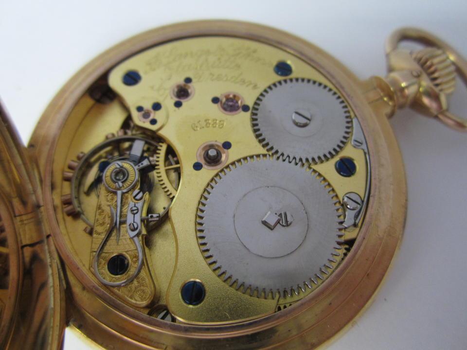 A. Lange & Söhne. An 18k gold keyless wind full hunter pocket watch Case, Cuvette & Movement No.61339, Circa 1912
