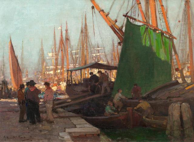 James Hamilton MacKenzie ARSA RSW ARE (British, 1875-1926) Harbour Scene, Possibly Nantes 45 x 60 cm. (17 11/16 x 23 5/8 in.)