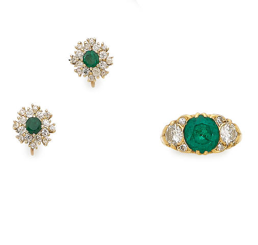 An emerald and diamond ring, (2)