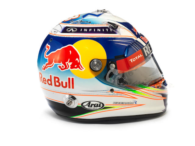 DANIEL RICCIARDO:- AN ARAI GP-6 RC HELMET WORN DURING THE 2015 BRITISH GRAND PRIX PRACTICE,