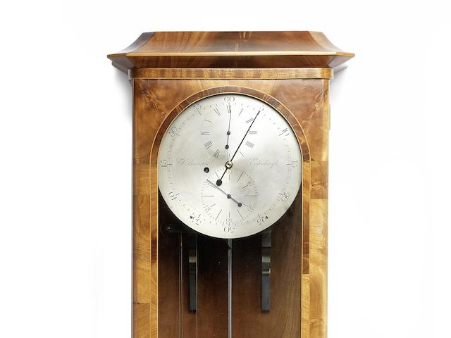 A modern eight day mahogany wall-mounted regulator with gravity escapement The movement by J Brameld, Edinburgh, the case by Peter Cuthbertson, Edinburgh