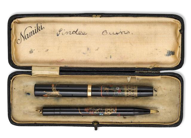 NAMIKI: Butterflies and Flower Basket Maki-e and Raden Fountain Pen  and Propelling Pencil Set, Asprey Nib, Period box, c.1930