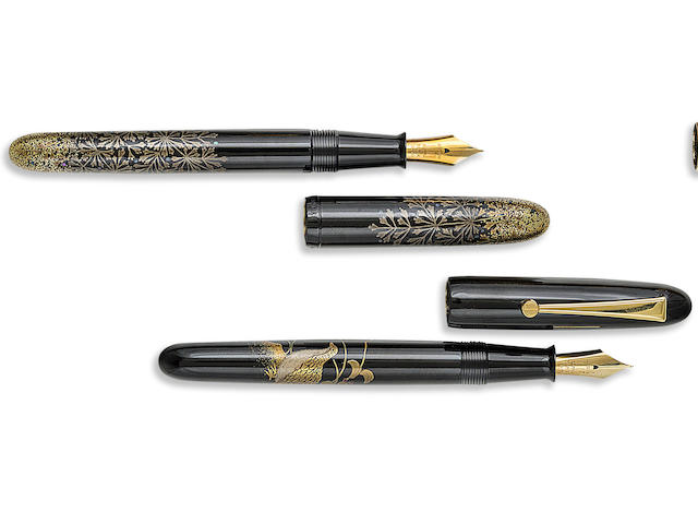 DUNHILL-NAMIKI: Four Piece Anniversary Set Limited Edition 200 Maki-e Fountain Pens