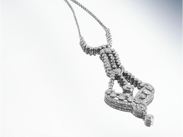 An early 20th century belle époque diamond pendant necklace