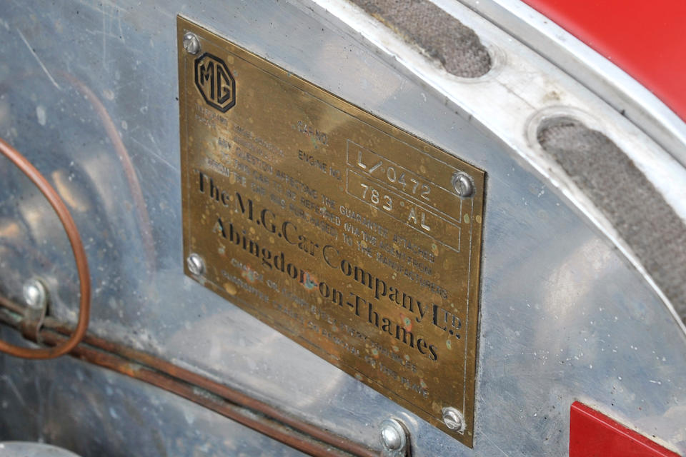 1933 MG Magna L1 to Magnette K3 Specification  Chassis no. L0472 Engine no. 783AL