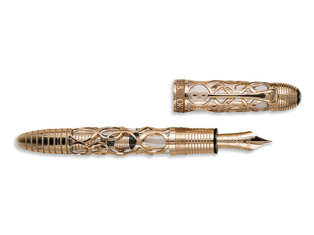 MONTBLANC: The Fortune Number 88 Solid 18K Gold Limited Edition 88 Skeleton Fountain Pen