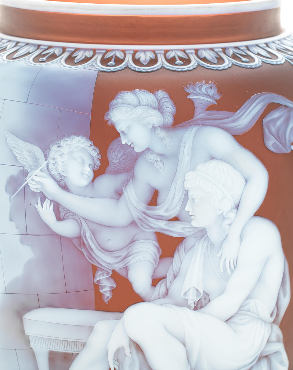 The Origin of Painting: an important Thomas Webb and Sons cameo vase by George Woodall, circa 1887
