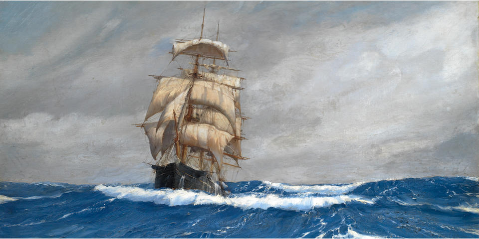 Montague Dawson (British, 1890-1973) Rolling Along – the American packet ship Gleaner at sea